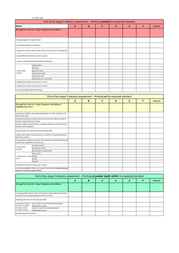 Year 6 end of KS2 statutory assessment grid for writing