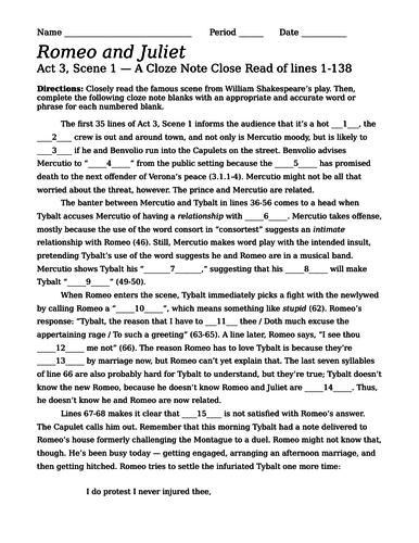 romeo and juliet act scene cloze note close exam quiz by  romeo and juliet act 3 scene 1 cloze note close exam quiz by scottdstratton teaching resources tes