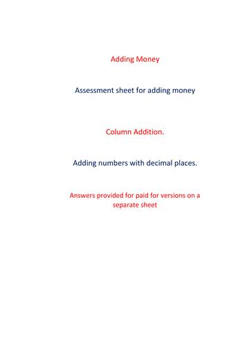 Adding Money Assessment or practice sheet