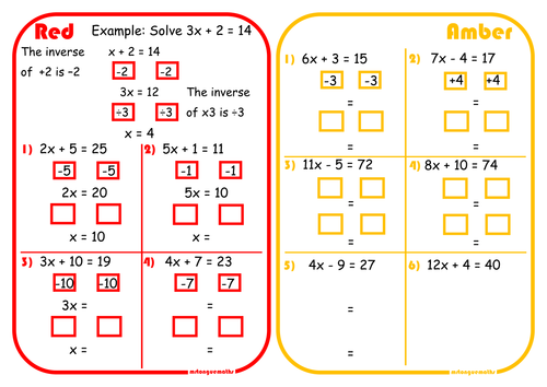 Solving Two-Step Equations Scaffolded Differentiated RAGE Sheet