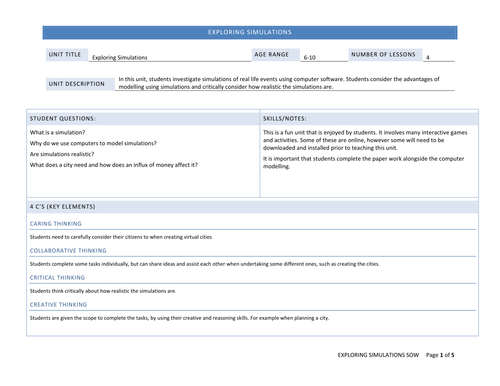 Exploring Simulations - Complete 4 Lesson Unit :)    KS2 ICT/Computing
