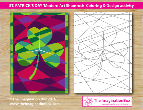 St. Patrick's Day /modern art'  shamrock colouring activity