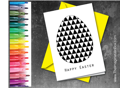 Make your own modern geometric Easter Egg card template