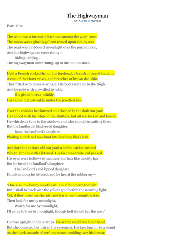 The Highwayman Poem