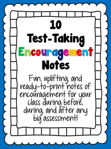 Genius image within encouraging notes for students during testing printable