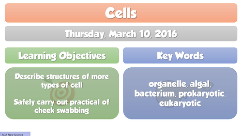 2016 NEW B1 Cells -(L2)  Looking at Cells, AQA NEW GCSE Biology FULL Lesson