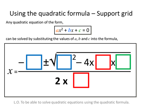 Quadratic Formula Differentiated Worksheets
