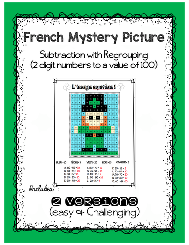 French Subtraction practice - Mystery picture