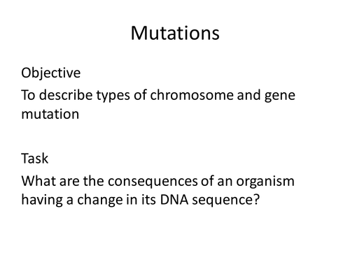 Mutations are random activity by KatieBall Teaching Resources Tes – Types of Mutations Worksheet