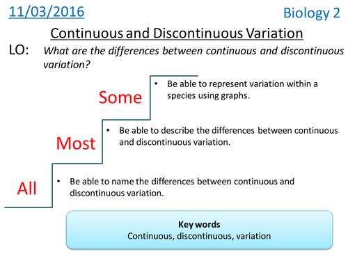 Continuous & Discontinuous variation - NEW KS3