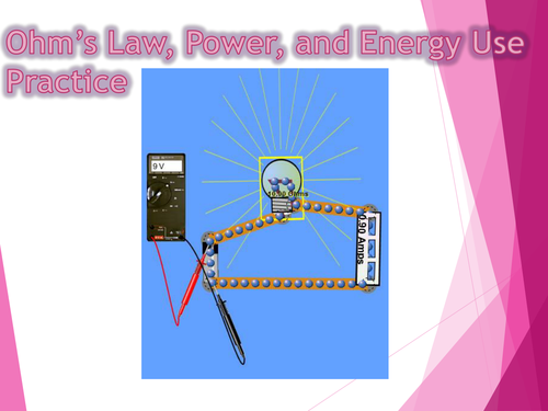Ohm's Law, Electric Power, and Energy Practice Worksheet and PowerPoint