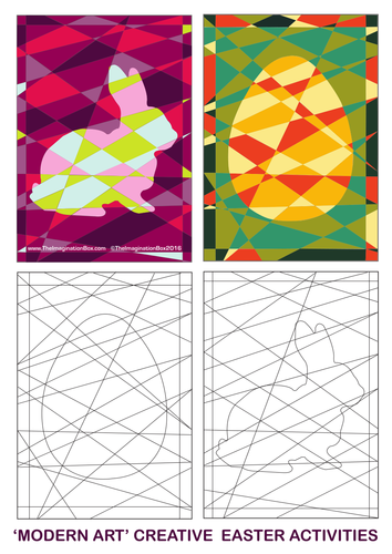 Modern Art Easter Colouring Templates By Dipagan Teaching Resources