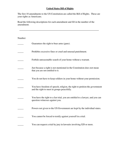 Worksheets Interpreting The Bill Of Rights Worksheet bill of rights matching exercise by mhavran teaching resources tes