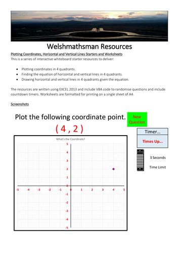 Plotting Coordinates, Horizontal and Vertical Lines Starters and Worksheets