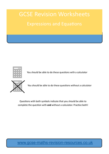 Expressions And Equations Revision Worksheet By Mathsteacher101