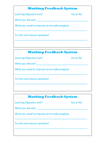 Marking feedback sheet for pupils books