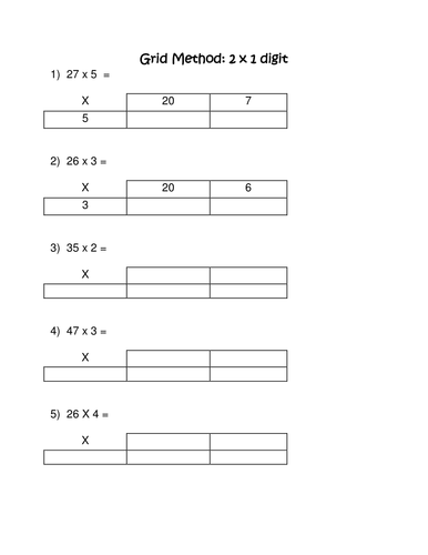 Grid method for multiplication
