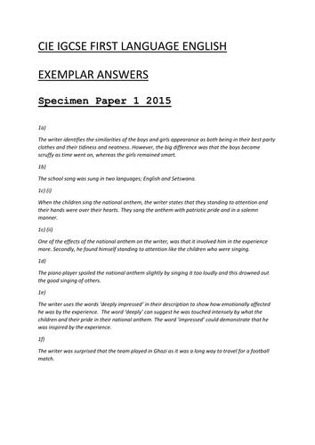 Cambridge iGCSE English 0522 Exam Revision Bundle SPECIMEN