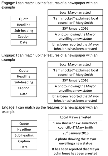 Newspaper Article Features and example matching exercise
