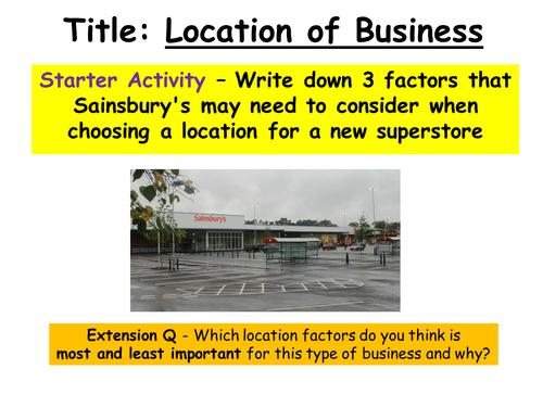 Business Location GCSE Business Studies Lesson