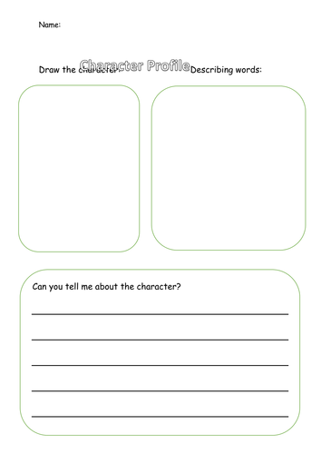 Character Profile Template   Character Profile Template By Smirah95 Teaching Resources Tes