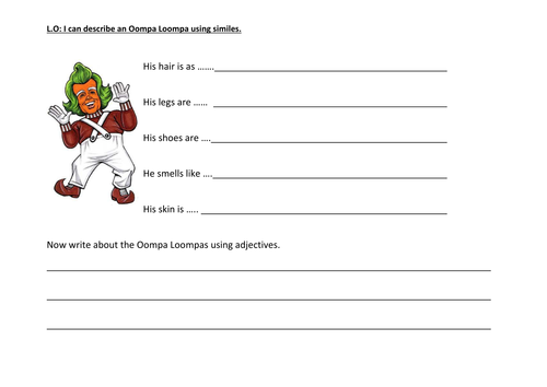Simile worksheet for an Oompa Loompa by lucinda19 Teaching – Simile Worksheets