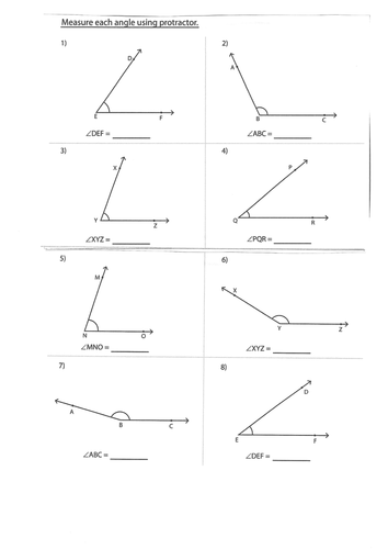 Worksheets Measuring Angles Worksheet Answers ks2 measuring angles using a protractor year 4 5 6 worksheet notebook by trabzonunal teaching resources tes