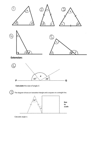 KS2 Missing angles in a triangle - Year 4 5 6 - worksheet - notebook