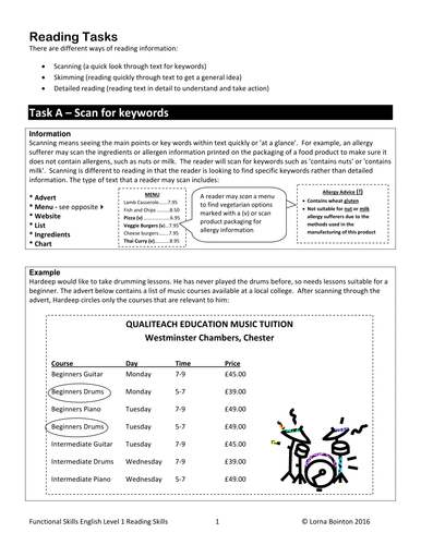 Functional Skills English Level 1 Worksheets: level 1 functional skills reading tasks by qualiteacheducation ,