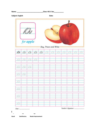 Cursive alphabets writing worksheets upper case & lower case Aa-Zz