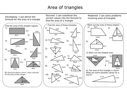 Area of triangles (with answers) by mcampbell21 - Teaching ...