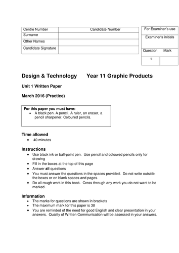 AQA Graphic Products section A practice 2016 examination (1 of 3)
