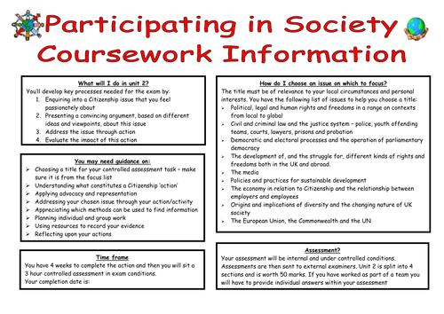 Edexcel Citizenship coursework planning booklet for unit 2