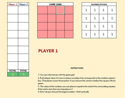 Grid of Sums Maths ICT Investigation Excel Spreadsheet KS2 KS3 KS4
