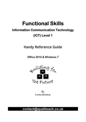 Functional Skills ICT Level 1 Reference Guide Office 2010