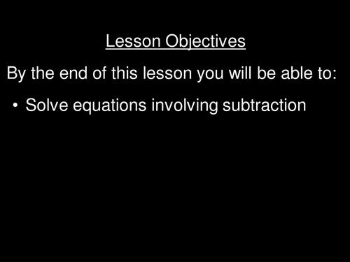 Balancing Equations with subtraction (interactive balancing)