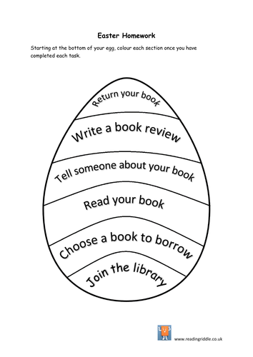 Easter homework library and reading activity by cunning1