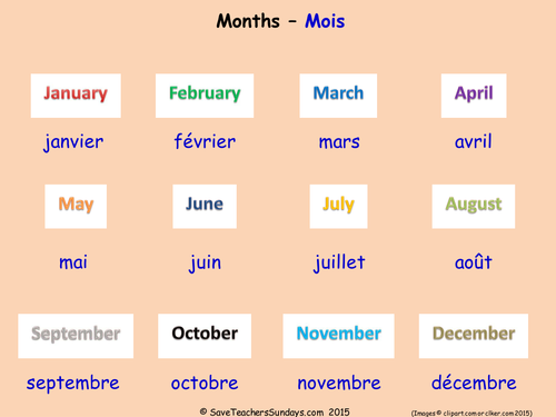Months in French KS2 worksheets, activities and flashcards