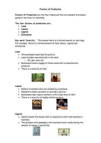 Transforming Resources - Factors of Production - Land, Labour, Capital & Enterprise - AS-Level