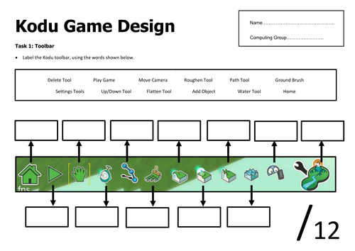 Kodu Programming Homework Planning Sheet