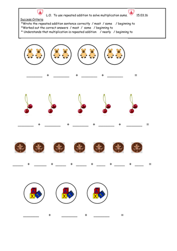 Repeated addition worksheets for Year 1 - LA, MA & HA