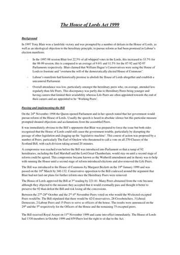 House of Lords: The House of Lords Act 1999 Handout and Power Point