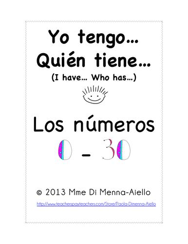 Yo tengo...Quién tiene...Los números (0-30) I have... Who has... Numbers