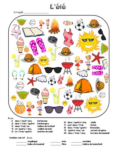 Les activities d'été / Summer Search and Find