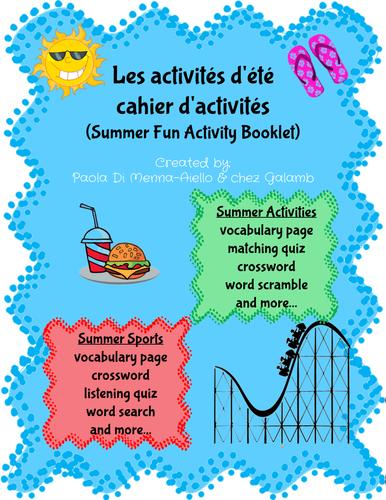 Les Activités d'été-Cahier d'activités (Summer fun activity booklet in French)