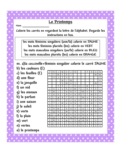 le printemps french worksheet by paolaiel teaching resources. Black Bedroom Furniture Sets. Home Design Ideas