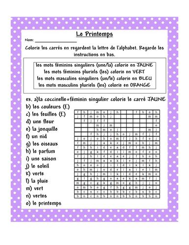 LE PRINTEMPS FRENCH worksheet