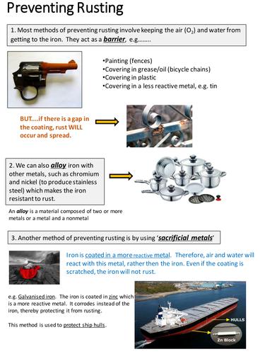 Methods of preventing rusting