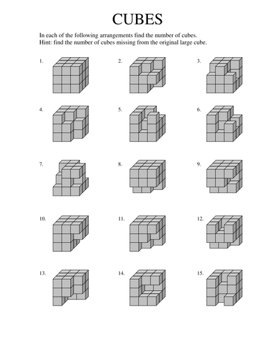 Worksheets Volume Counting Cubes Worksheet count the cubes by tumshy teaching resources tes