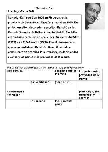 spanish salvador dal colours descriptions ks3 authentic text by tcnewman teaching resources. Black Bedroom Furniture Sets. Home Design Ideas